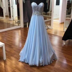 Light blue prom dress with rhinestones